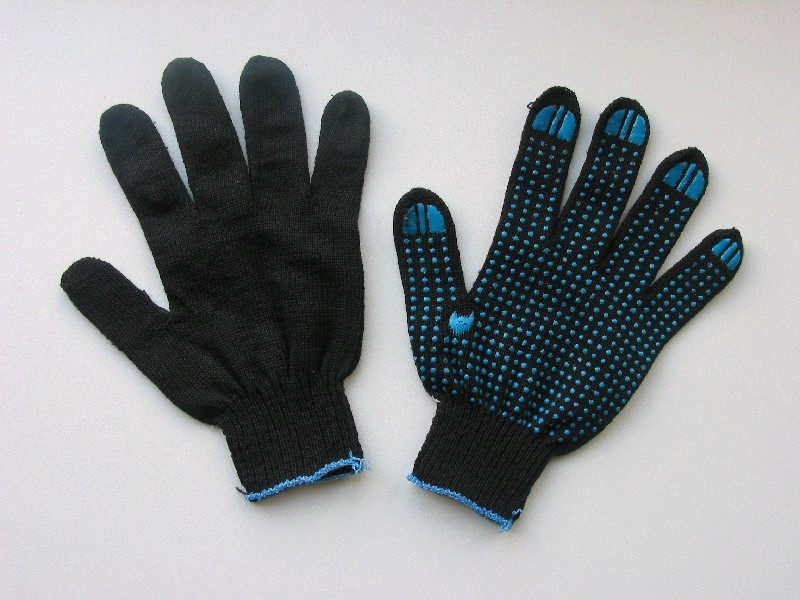 Перчатки х/б с ПВХ покрытием (черные 1 пара)