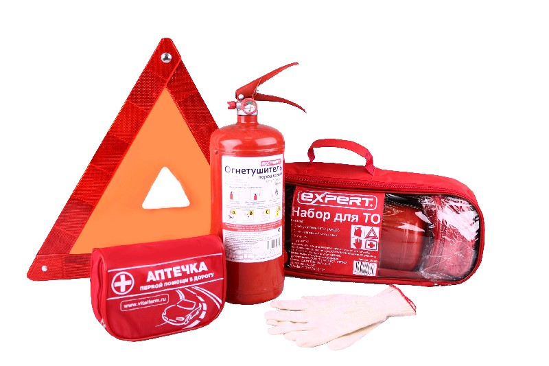 EXPERT Набор для ТО (огнетушитель, знак аварийной остановки, аптечка)