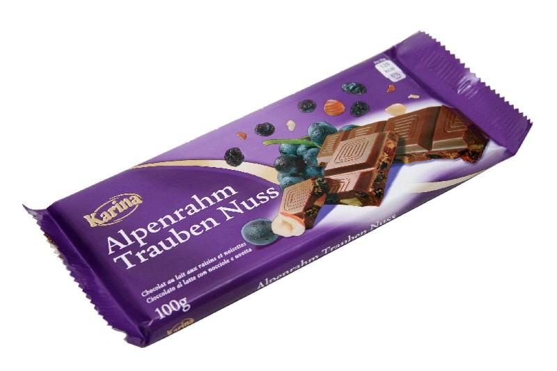 KARINA Шоколад мол. дроблен. орех, изюм 100 гр (39 шт в кор)