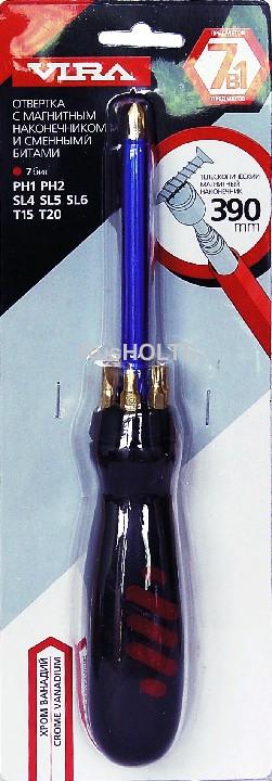 """Отвертка с магнитным наконечником и сменными битами """"VIRA"""" (7 в 1)"""