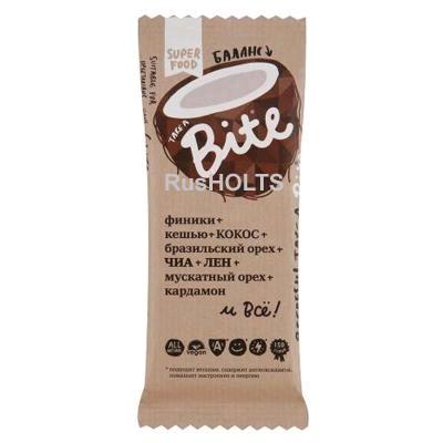 "BITE Батончик фр-орех ""Кокос-Бразильский орех"" (Баланс), 45 гр"