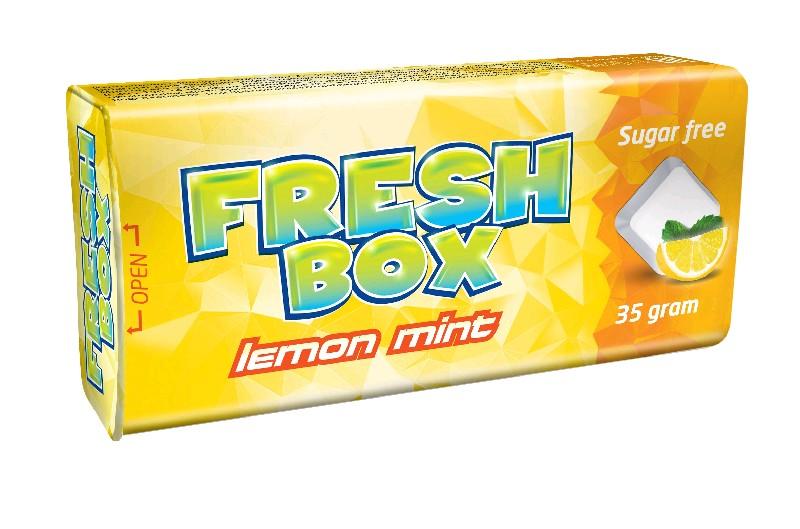 Изделия кондитерские: драже освежающие без сахара, не содержащие молочных жиров, сахарозы и глюкозы или крахмала (вкус:  LEMON MINT/лимон мята). Торговая марка FRESHBOX.