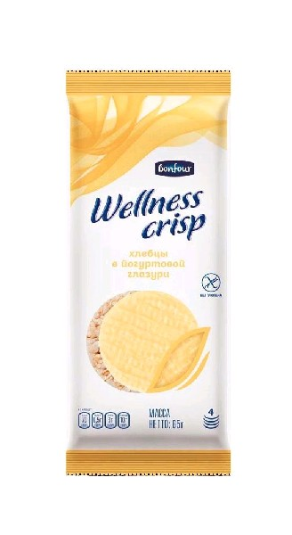 Хлебцы хрустящие bonfour wellness crisp рисовые в йогуртовой глазури