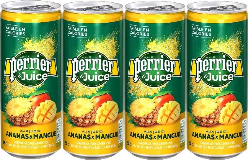 Perrier Напиток б/алк газ ананас ,манго ал/б 250 мл*24шт