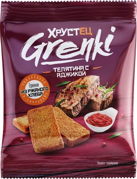 Гренки со вкусом  телятины с аджикой 80 гр, 30 шт в кор0 шт в кор