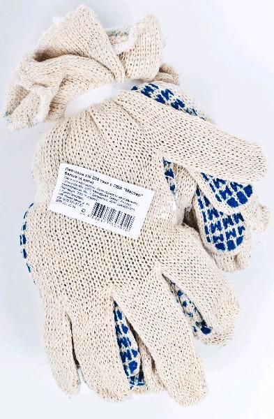 Перчатки х/б с ПВХ, 200 текс, белые,4 нити, упаковка 5 пар