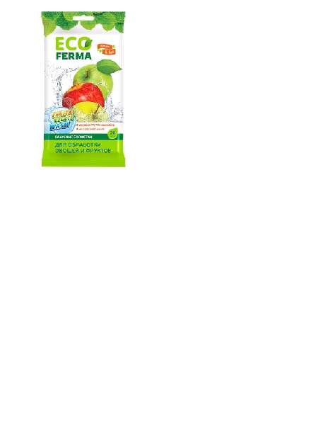 ECO FERMA Влажные салфетки для обработки овощей и фруктов 20 шт