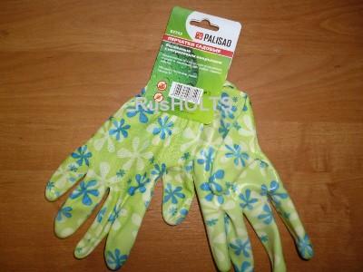 Перчатки садовые из полиэстера с нитриловым обливом, красные //PALISAD