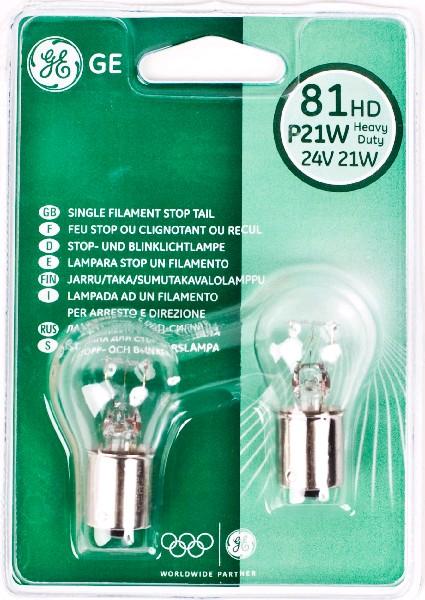 Лампа GE, P21W 24V 70W, BA15s (бл. 2шт)