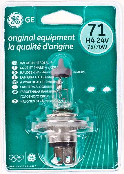 Лампа GE, H4 24V 75/70W, P43t (бл. 1шт)