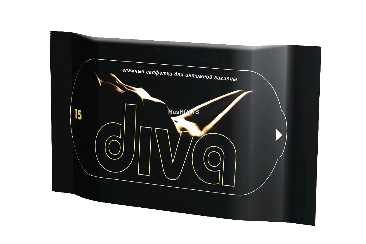 DIVA black 15 Влажные салфетки для интимной гигиены