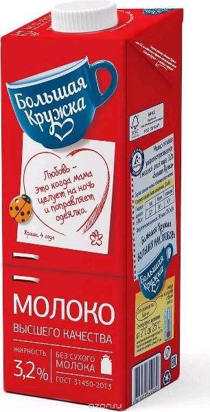 """Молоко питьевое ультропастеризованное с м.д.ж. 3,2% """"Большая Кружка"""", упак. 980 гр"""