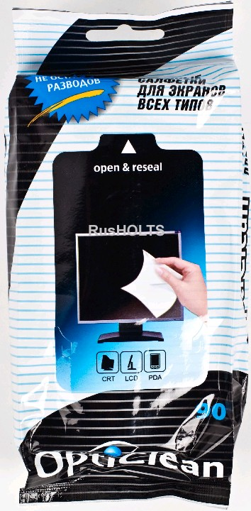 Opti Clean Влажные салфетки для экранов всех типов, 90 шт.