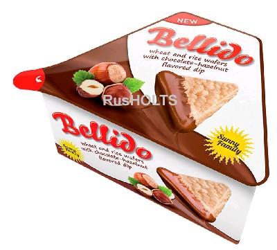 BELLIDO Пшенично-рисовые вафли с кремом на основе лесных орехов и какао
