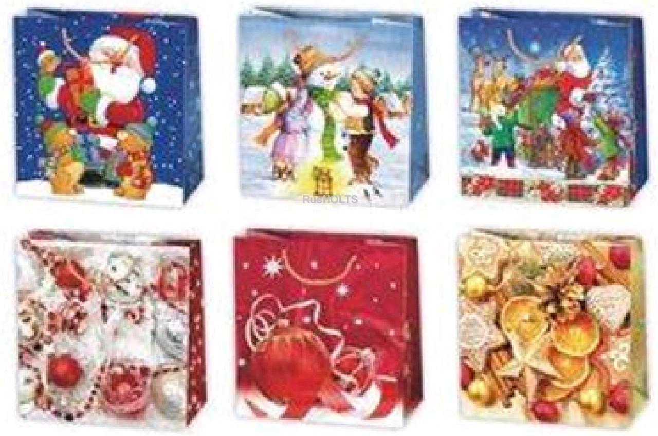 Пакет подарочный Новогодние мотивы 15,5х15,5х8