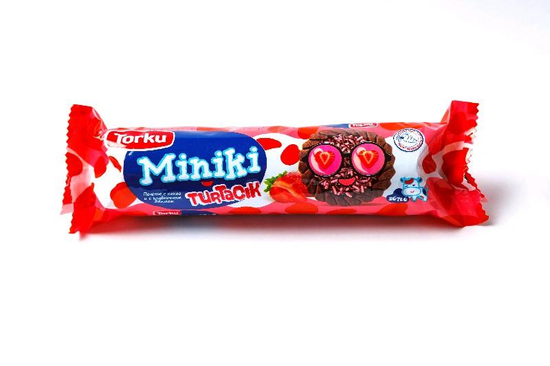 MINIKI Печенье с какао и с клубничным джемом и с шоколадными гранулами